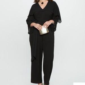 Eloquii belted jumper with cape sz 18 black